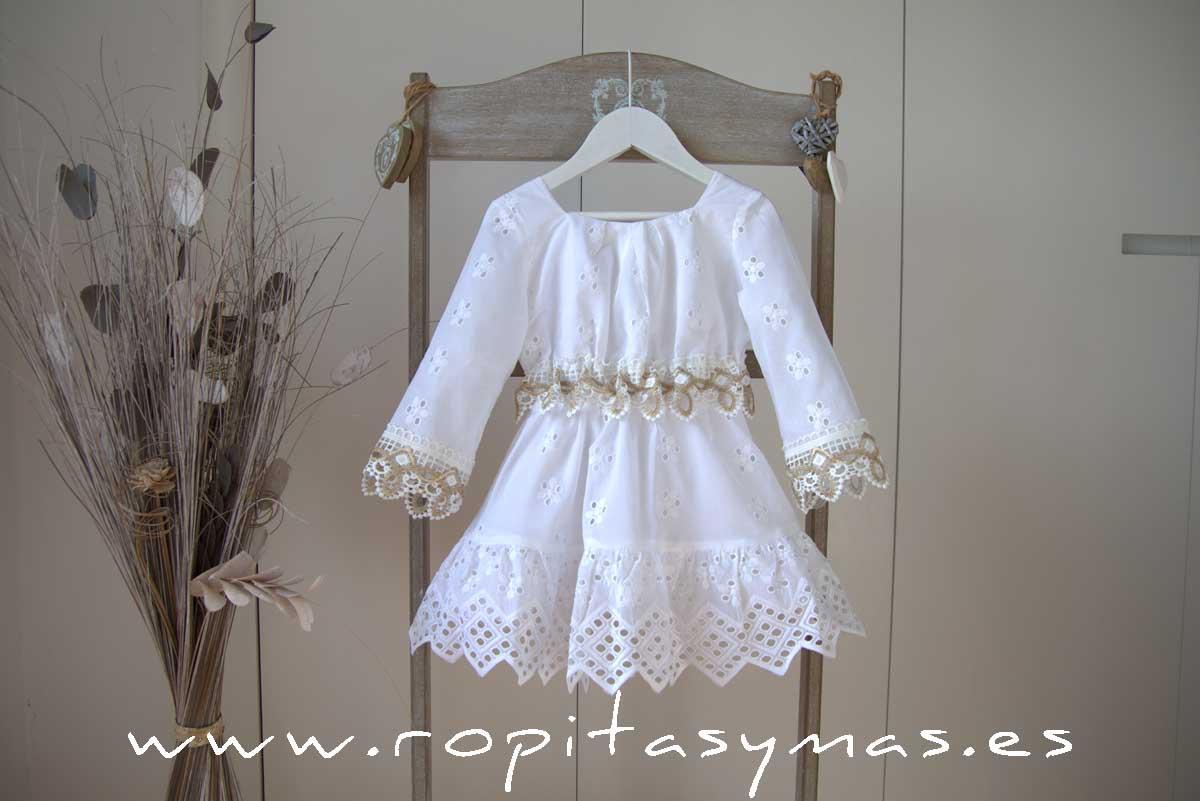 Vestido blanco perforado SAHARA de KAULI
