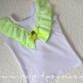 Camiseta blanca corazón FLUOR de KAULI, verano 2020