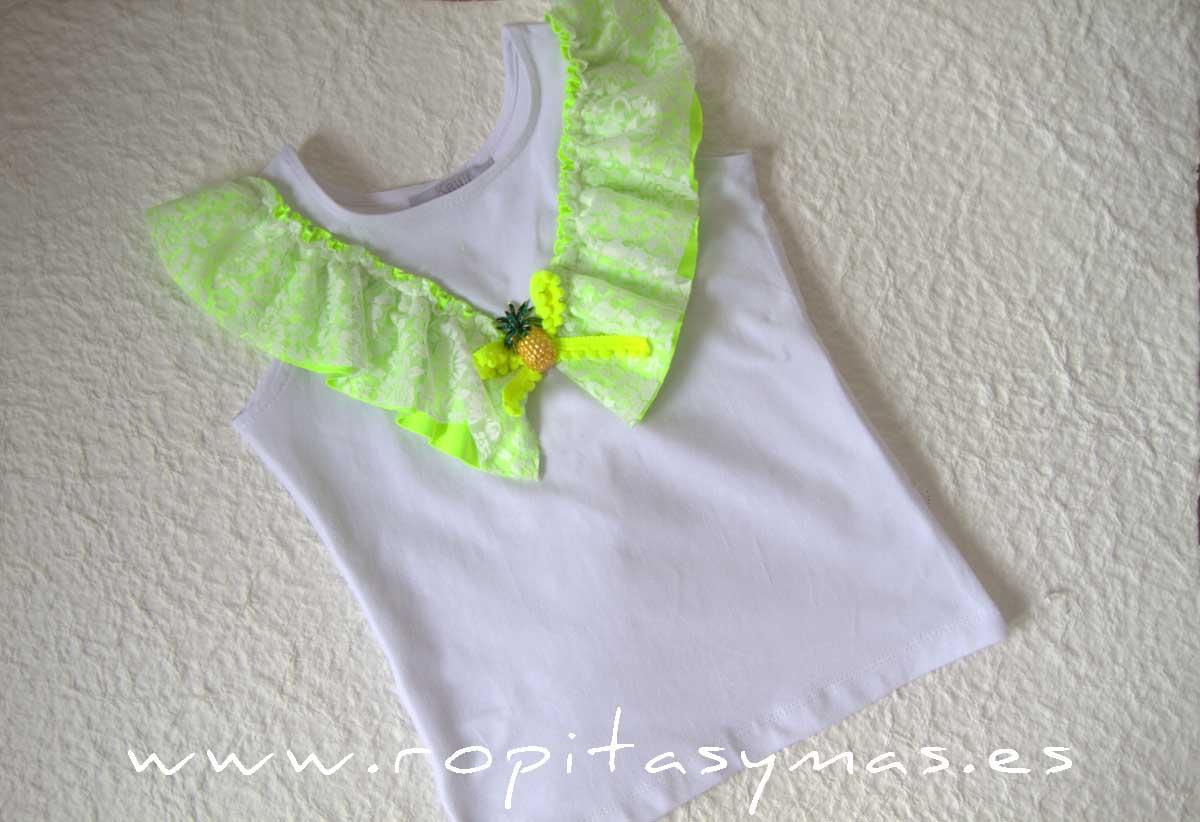 Camiseta blanca corazón FLUOR de KAULI