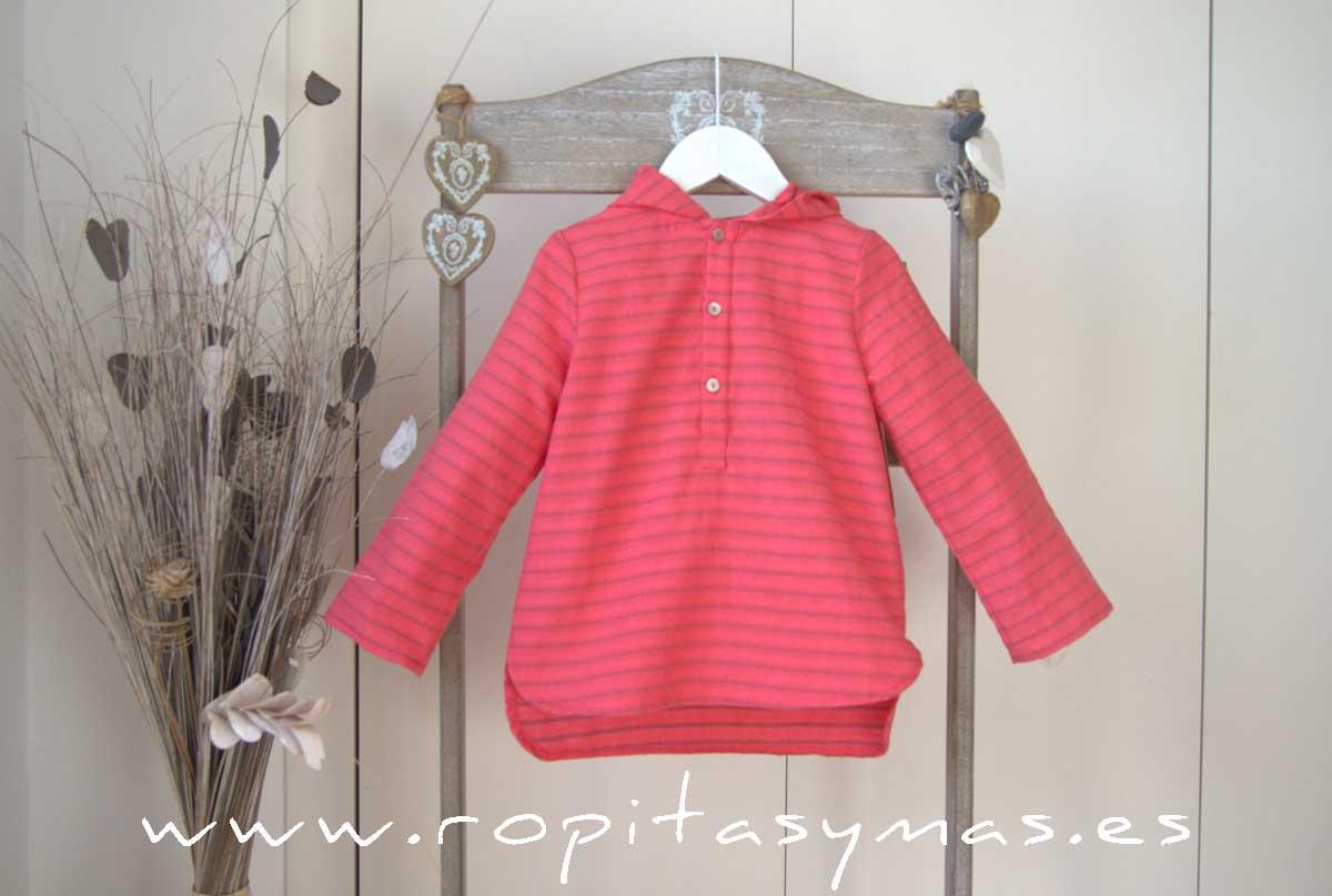 Camisa capucha fucsia rayas de MIA Y LIA
