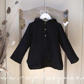 Camisa capucha bambula negra de MIA Y LIA, verano 2020