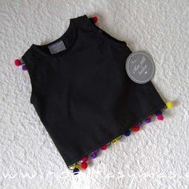 Camisa negra pompones LOROS MON PETIT BONBON, verano 2020