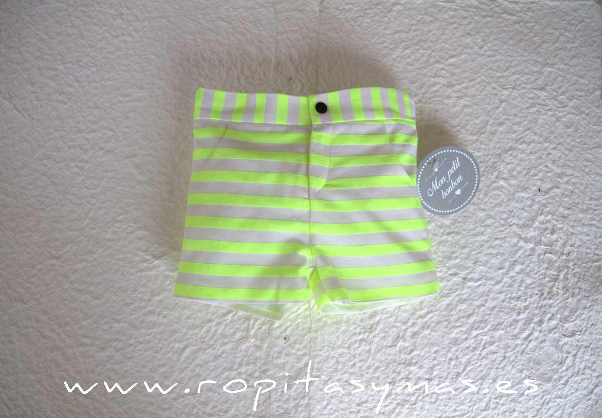 Pantalón corto rayas FLUOR de MON PETIT BONBON