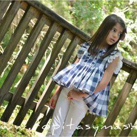 Conjunto pantalón pitillo cuadro azul NAVY de NOMA, verano 2020