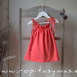 Vestido coral tirantes ANEMONA de EVE CHILDREN, verano 2020
