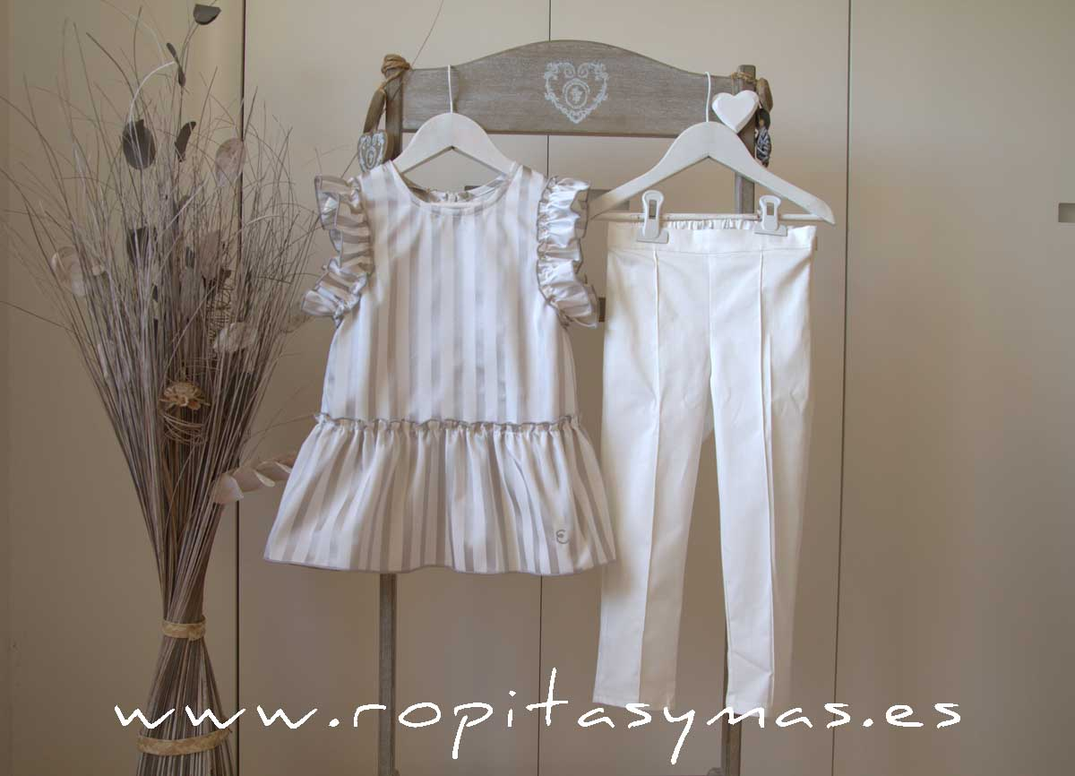 Blusón rayas plata y Pitillo blanco roto TEEN de EVE CHILDREN