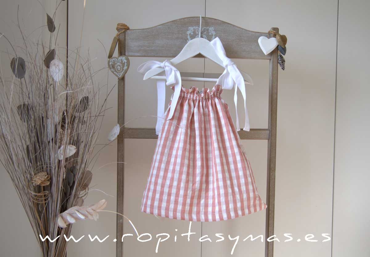 Vestido rosa vichy tirantes ROSE de EVE CHILDREN