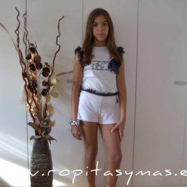 Camiseta blanca ROMANTIC de LE PETIT MARIETTE, verano 2020