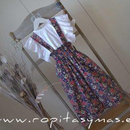 Pantalón floral marino tirantes de MIA Y LIA, verano 2020