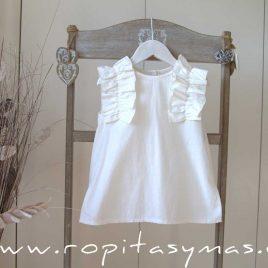 Blusa blanco roto volante plisado de MIA Y LIA, verano 2020