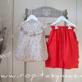 Maxi-falda roja coral de MIA Y LIA, verano 2020