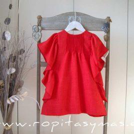 Vestido rojo coral volantes MIA Y LIA,  verano 2020