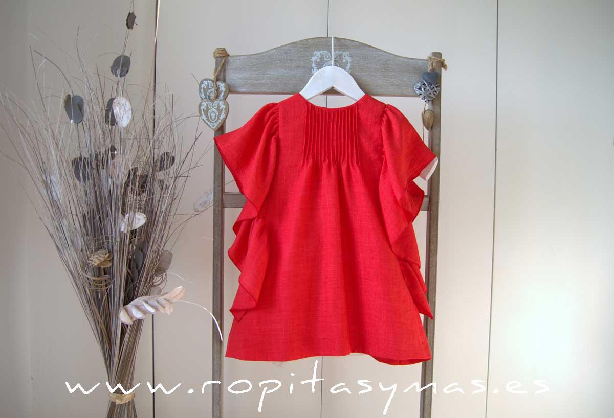 Vestido rojo coral volantes MIA Y LIA