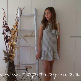 Vestido rayas kakis asimétrico TEEN de EVE CHILDREN, verano 2020