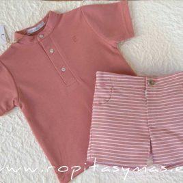 Conjunto niño rayas polo rosa PARROT de EVE CHILDREN, verano 2020