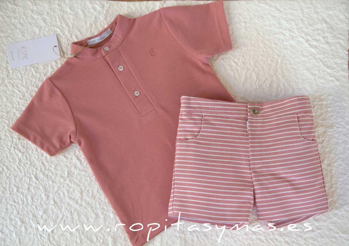 Conjunto niño rayas polo rosa PARROT de EVE CHILDREN