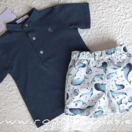 Conjunto niño polo azul grisáceo DOLPHIN de EVE CHILDREN, verano 2020