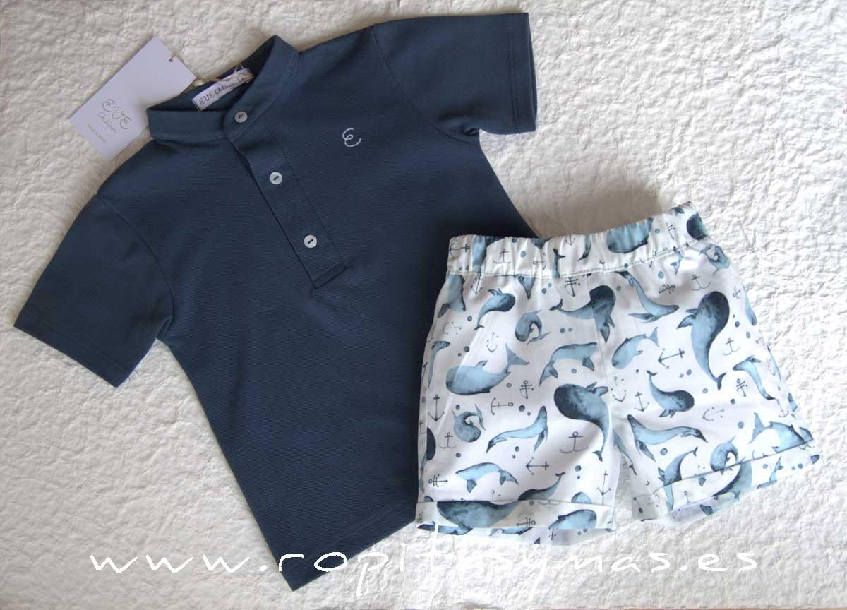 Conjunto niño polo azul grisáceo DOLPHIN de EVE CHILDREN