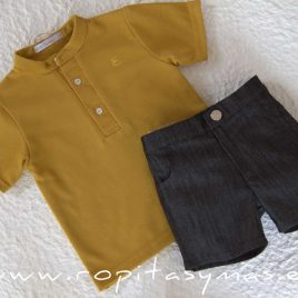 Conjunto niño amarillo polo gris BEE de EVE CHILDREN, verano 2020