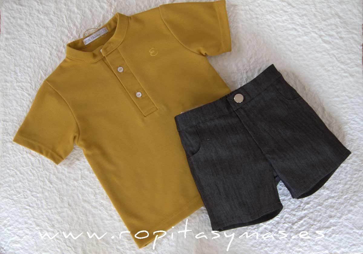 Conjunto niño amarillo polo gris BEE de EVE CHILDREN