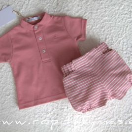 Conjunto bebé rosa PARROT de EVE CHILDREN, verano 2020