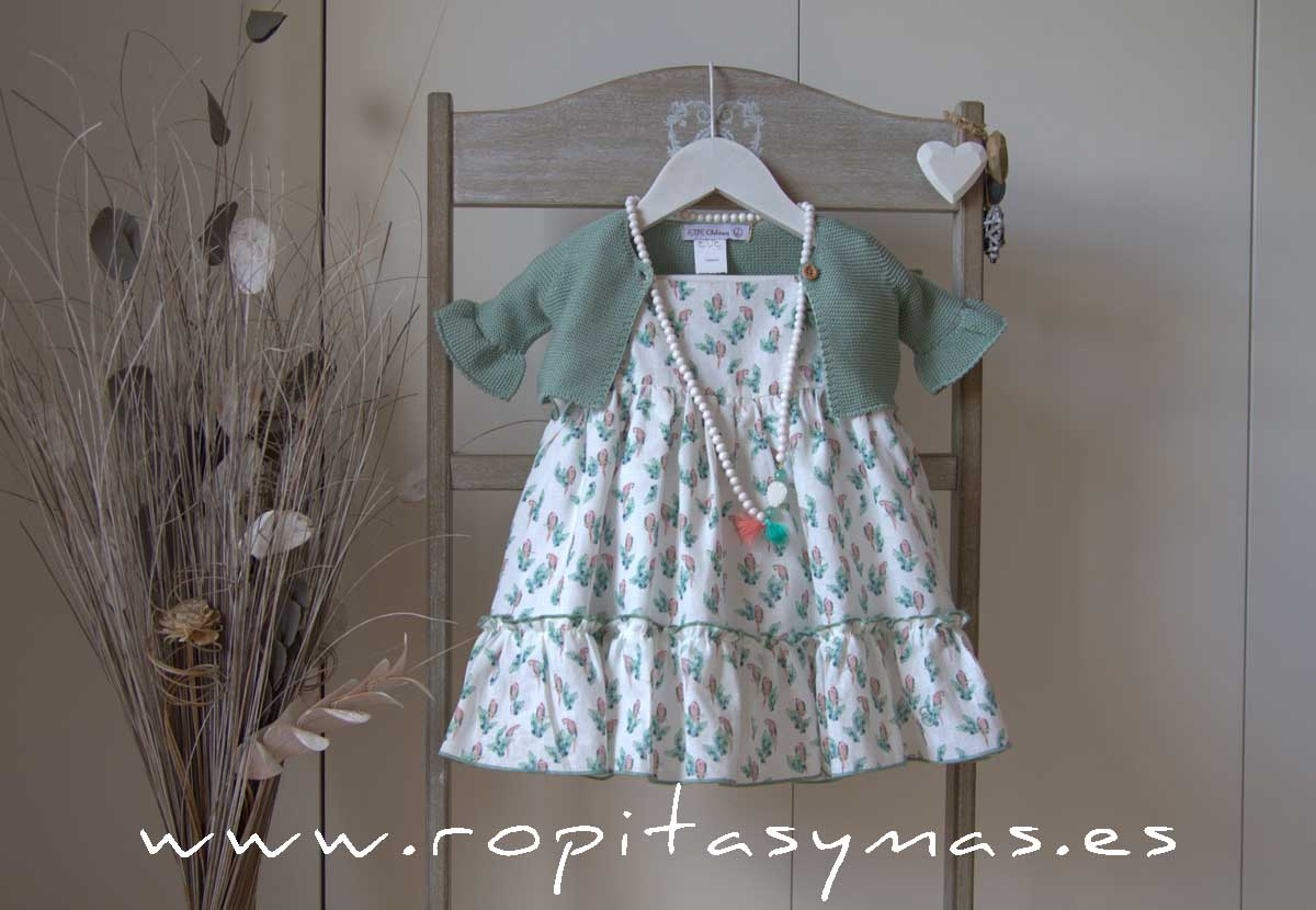 Vestido loros y Chaqueta verde agua PARROT de EVE CHILDREN