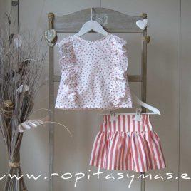 Conjunto falda rayas coral CRAB de EVE CHILDREN, verano 2020