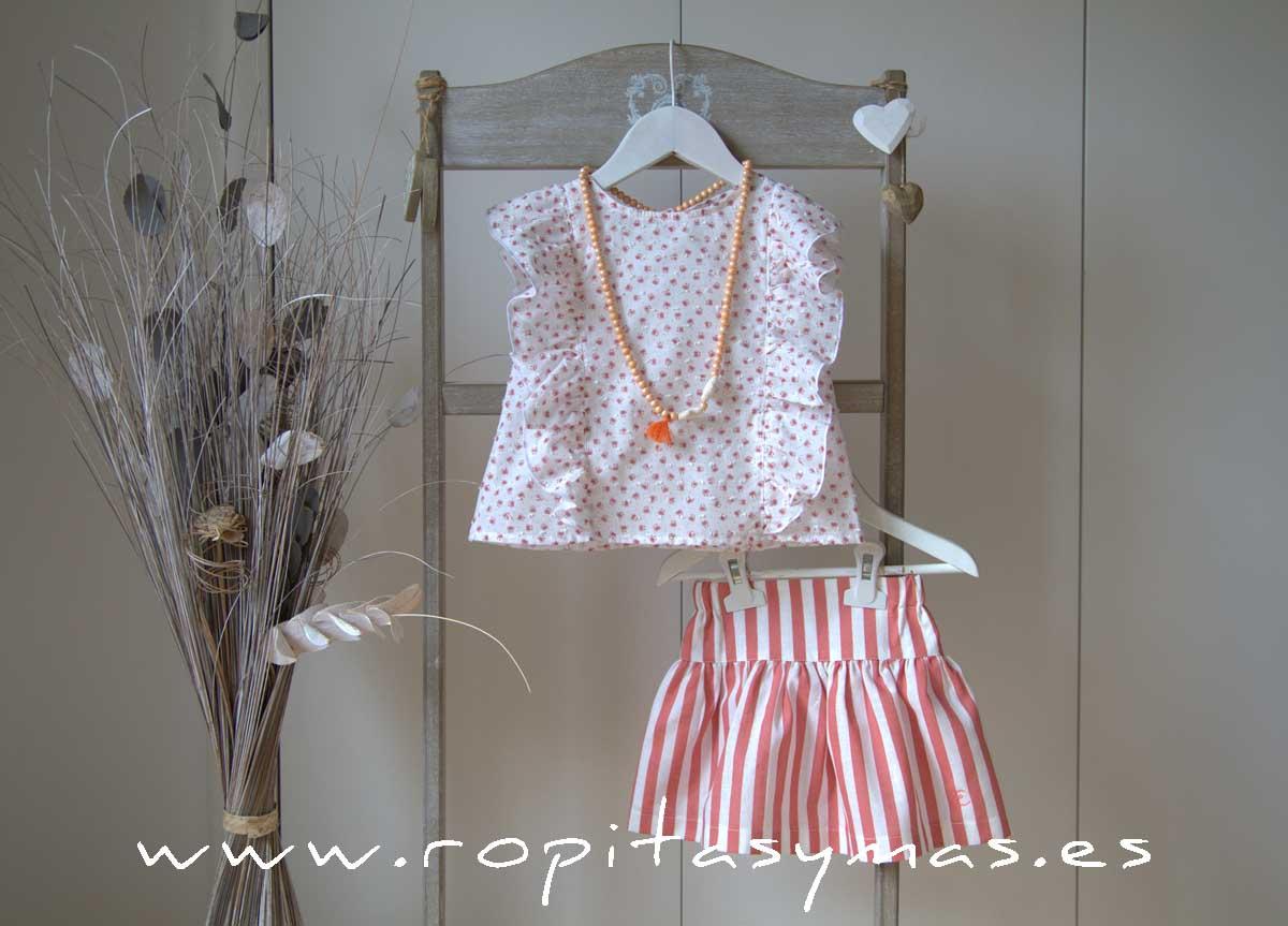 Conjunto falda rayas coral CRAB de EVE CHILDREN