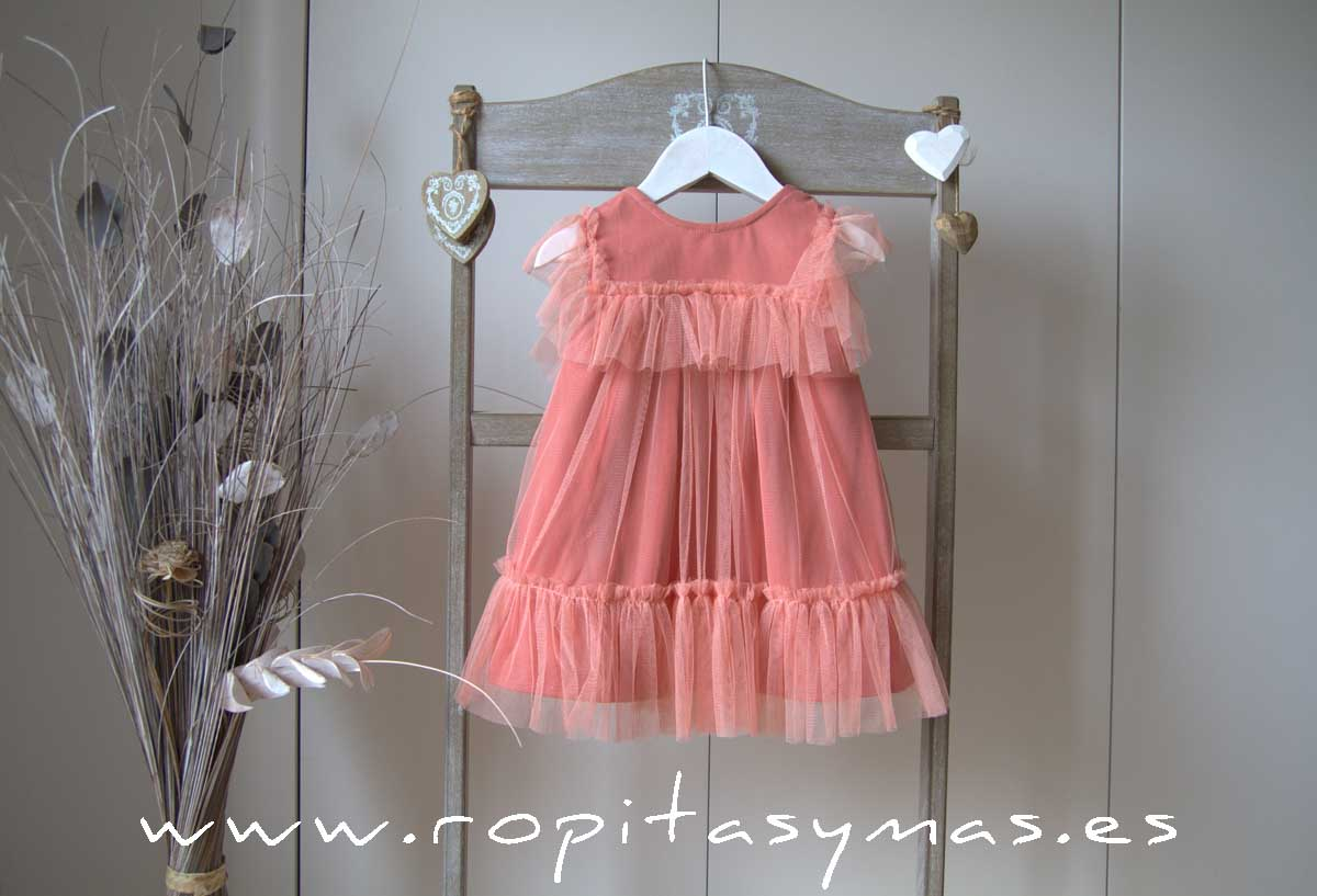 Vestido coral tul CRAB de EVE CHILDREN