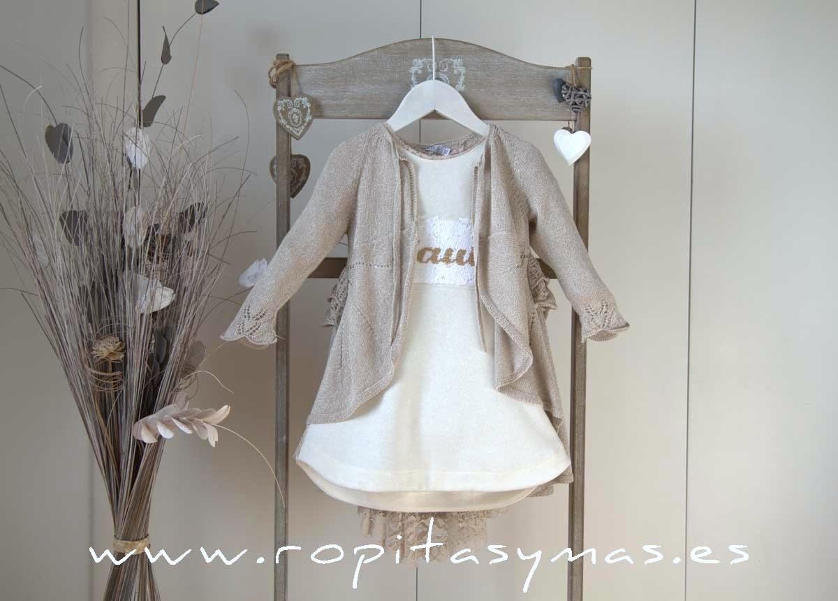 Vestido marfil encaje y Chaqueta levita arena SAHARA YOUNG&CHIC
