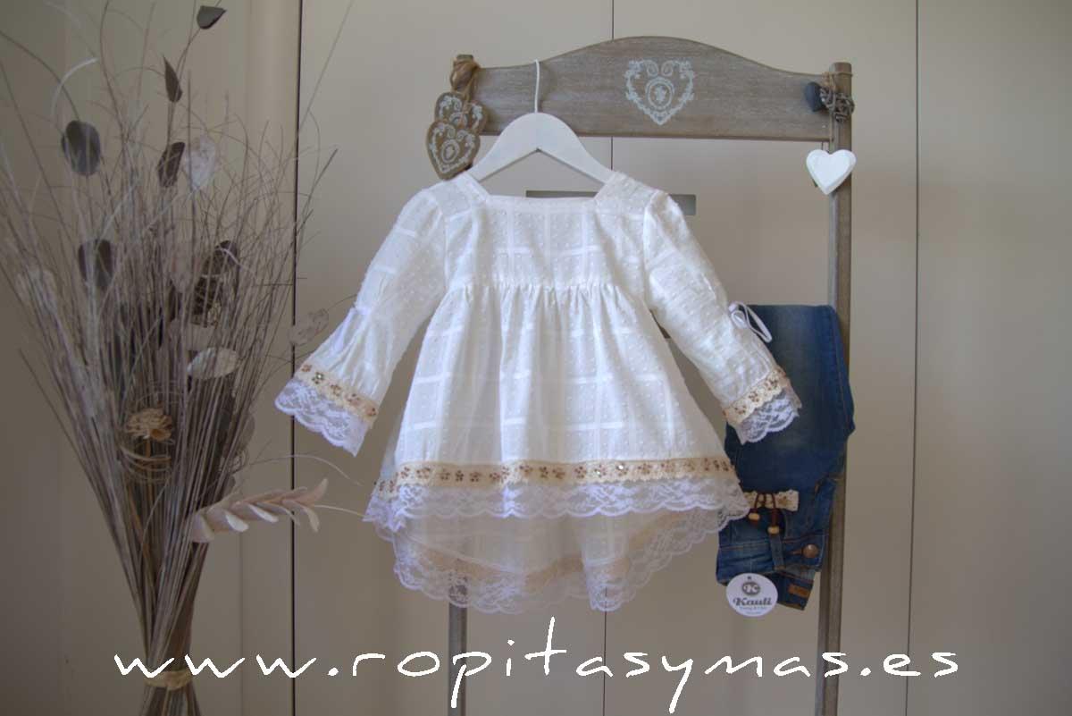 Blusón blanco plumeti cuadros YOUNG&CHIC de KAULI