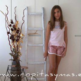 Camiseta rayas blancas y rosas ARCOIRIS de KAULI, verano 2020