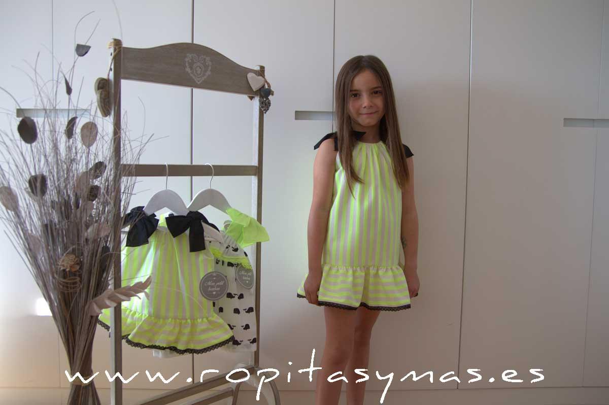 Vestido rayas FLUOR MON PETIT BONBON