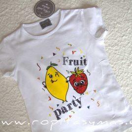 Camiseta blanca niña PARTY FRUITIS de MON PETIT BONBON, verano 2020