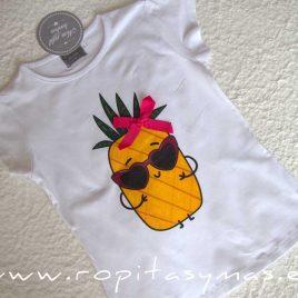 Camiseta blanca piña FRUITIS de MON PETIT BONBON, verano 2020