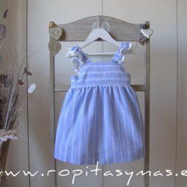 Vestido azulado tirantes y rayas de ANCAR, verano 2020