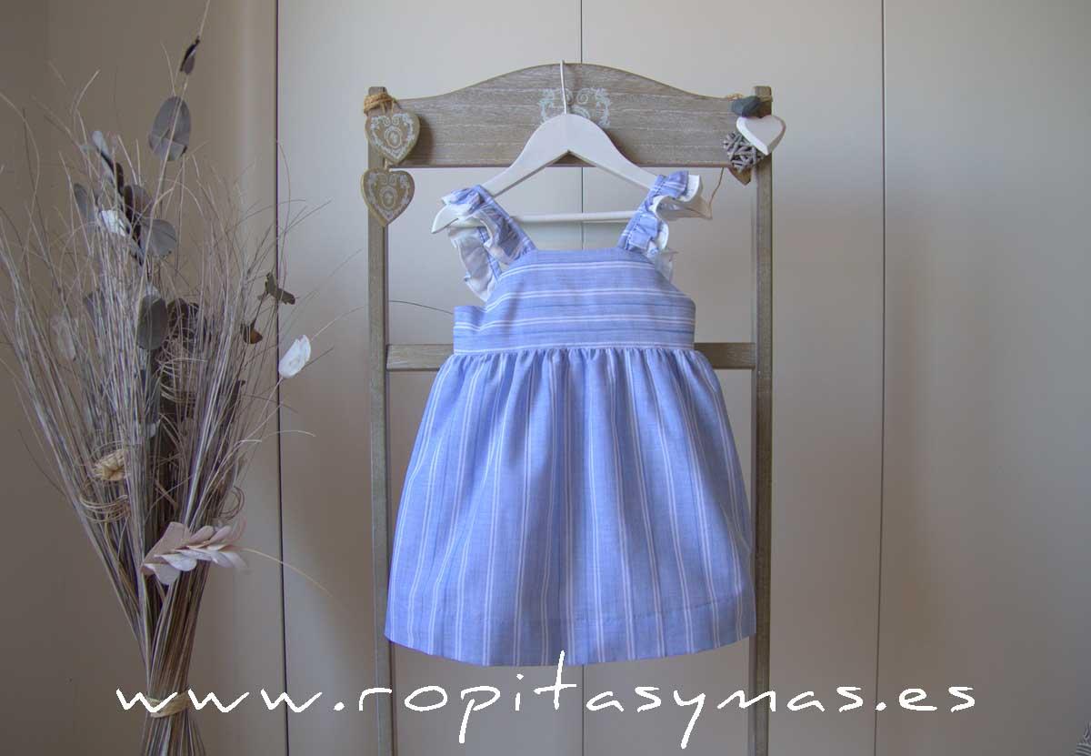 Vestido azulado tirantes y rayas de ANCAR