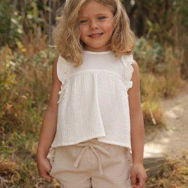 Blusa blanca bambula cuadro de ANCAR, verano 2020