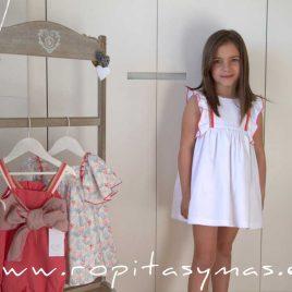 Vestido blanco bandas CORALE de EVE CHILDREN, verano 2020