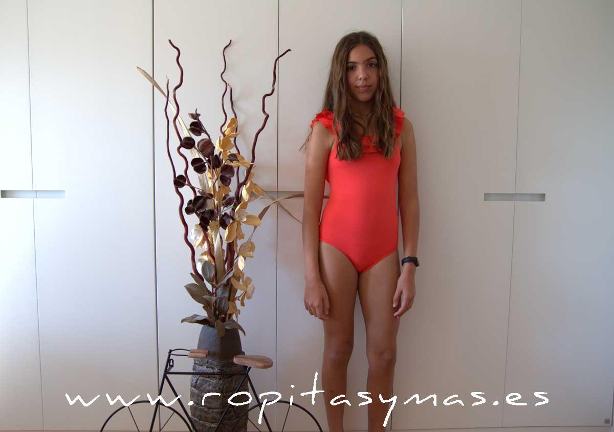 Bañador niña coral volantes ANEMONA de EVE CHILDREN