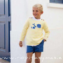 Jersey rayas amarillas BALLENAS  de KIDS CHOCOLATE, verano 2020