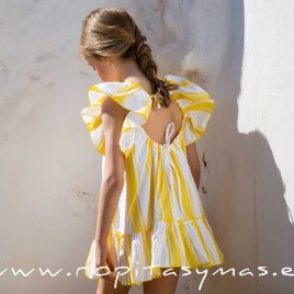 Vestido volantes RAYAS AMARILLAS de KIDS CHOCOLATE, verano 2020