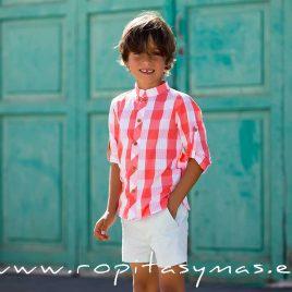 Camisa mao CUADROTES de KIDS CHOCOLATE,  verano 2020
