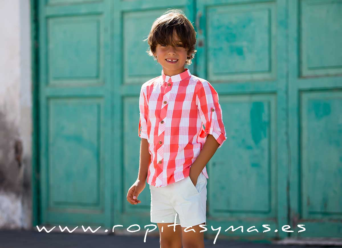 Camisa mao CUADROTES de KIDS CHOCOLATE