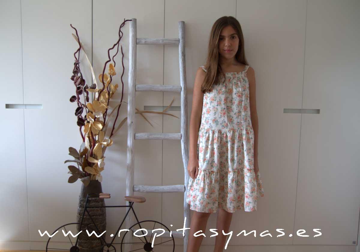 Maxi-vestido lurex y flores de MIA Y LIA