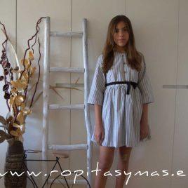 Vestido rayas grises lazos MIA Y LIA,  verano 2020
