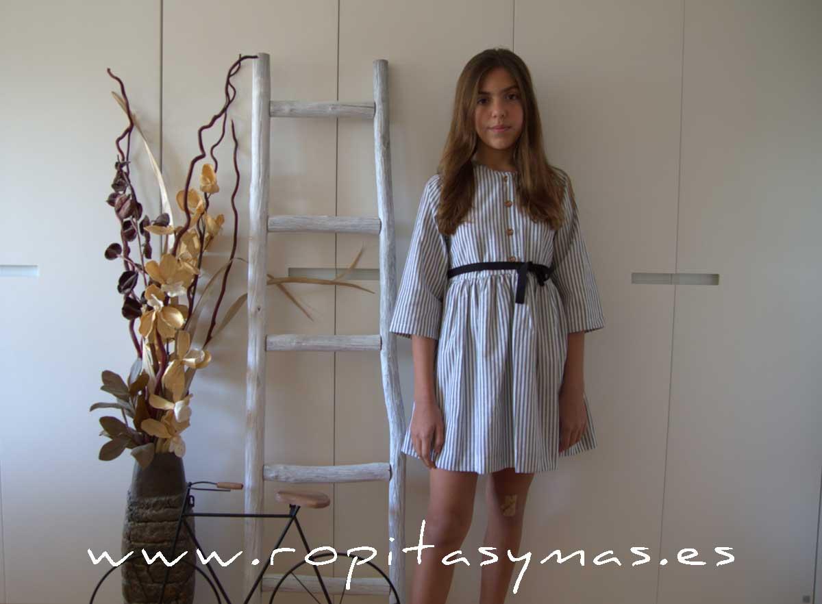 Vestido rayas grises lazos MIA Y LIA