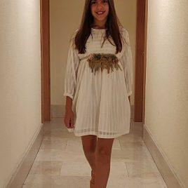 Vestido plumeti rayado blanco MIA Y LIA,  verano 2020