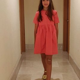 Vestido fucsia rayas bolsillos MIA Y LIA,  verano 2020