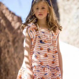 Vestido volantes NARANJAS de KIDS CHOCOLATE, verano 2020